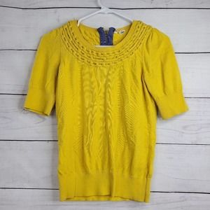 Anthropologie Moth Short Sleeve Cable Knit Blouse